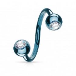 Piercing spirale 10mm bleu avec boules et cristal Suz SPI007