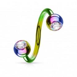 Piercing spirale 10mm arc en ciel avec boules 4mm et crystal Piercing oreille5,25€