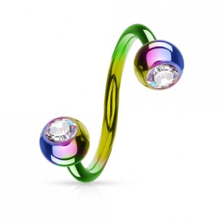 Piercing spirale 10mm arc en ciel avec boules et cristal SPI007