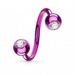 Piercing spirale 10mm violet avec boules et cristal blanc SPI007