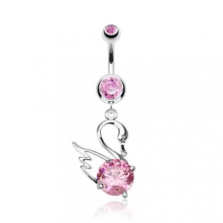 Piercing nombril pendentif cygne rose Vafu NOM225