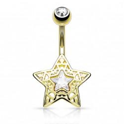 Piercing nombril banane doré avec une étoile en filigrane Somy Piercing nombril5,75€