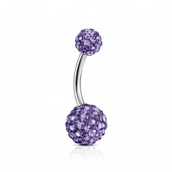 Piercing nombril boule avec crystals tanzanite Bluz NOM212
