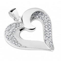Pendentif en forme de coeur orné de zirconiums blanc Nag PEN052