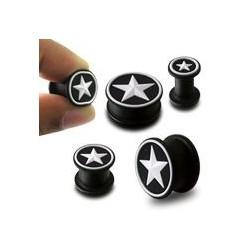 Piercing plug étoile blanche 12mm Hai PLU055