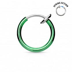 Faux piercing anneaux vert 10mm à clip Puk