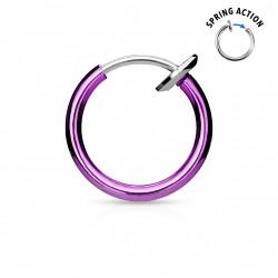 Faux piercing anneaux violet 10mm à clip Saz