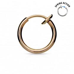 Faux piercing anneaux 10mm or rose à clip Pul FAU192
