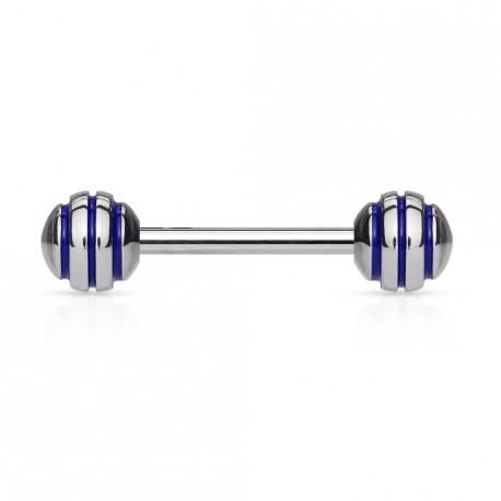 Piercing langue boules striées bleu Pom LAN029