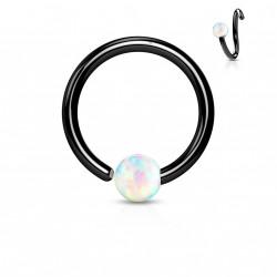 Piercing anneau noir 6 x 0,8mm avec une opaline blanche Vok NEZ101