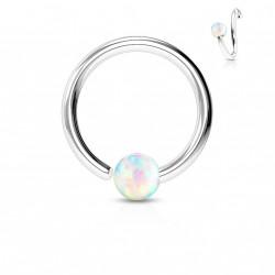 Piercing anneau 8 x 0,8mm avec une opaline blanche Maz NEZ102
