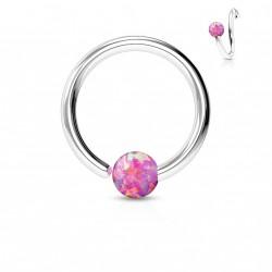 Piercing anneau 8 x 0,8mm avec une opaline rose Kolo NEZ102