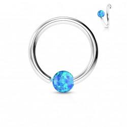 Piercing anneau 8 x 0,8mm avec une opaline bleu Xasy NEZ102