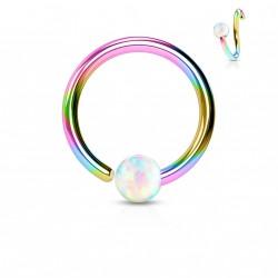Piercing anneau arc en ciel 6 x 0,8mm et une opaline blanche Madaz NEZ103