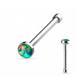 Piercing nez droit acier avec une opale verte Krad NEZ109