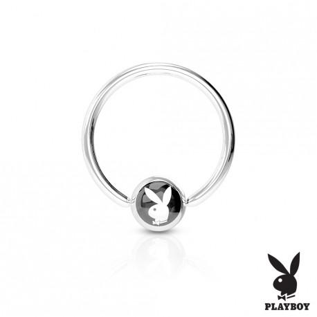 Piercing anneau 10 x 1,2mm et boule 4 mm avec logo Playboy noire Lay ANN134