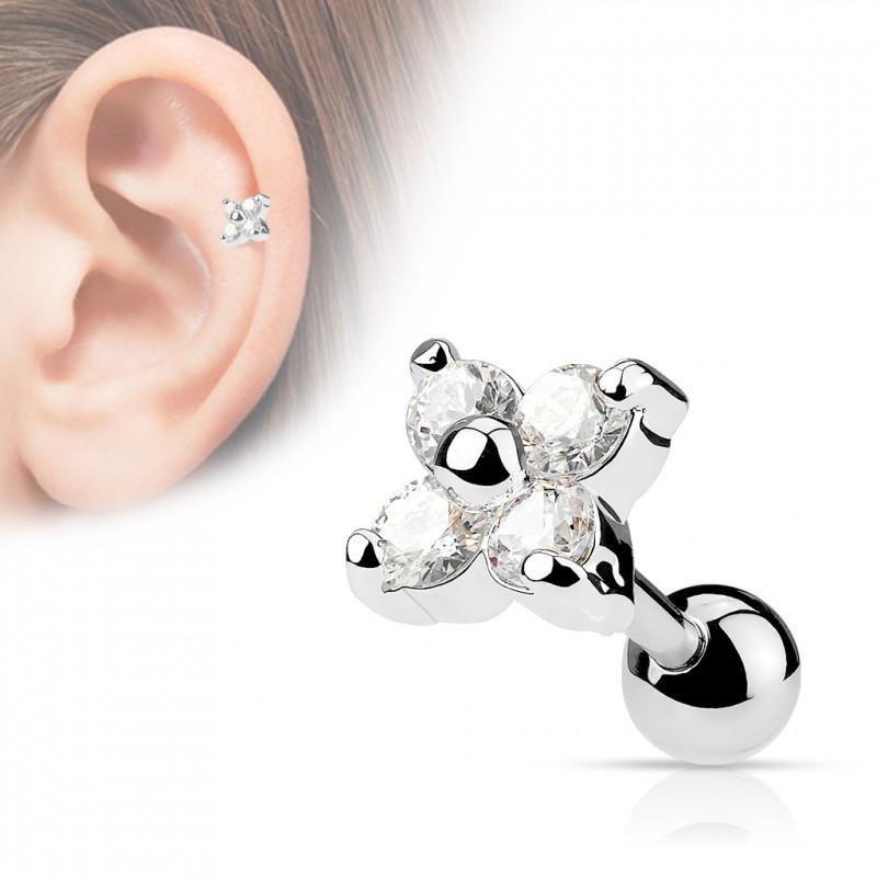 Piercing cartilage tragus fleur blanc wor Piercing oreille5,99€
