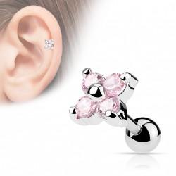 Piercing cartilage tragus fleur rose wyr TRA006
