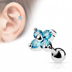 Piercing cartilage tragus fleur bleu aqua whu TRA006