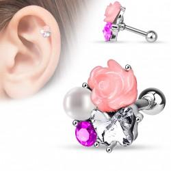 Piercing hélix fleur rose perle et zirconium Atie HEL034