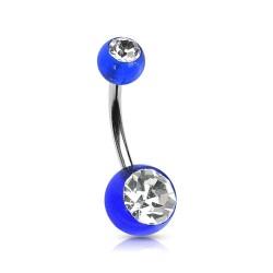 Piercing nombril boule bleu et blanc NOM522