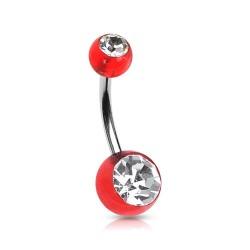 Piercing nombril boule rouge et blanc