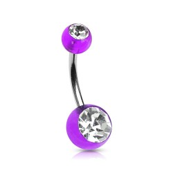 Piercing nombril boule violette et blanche Piercing nombril2,60€