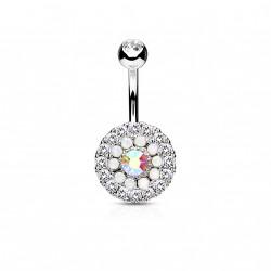 Piercing nombril avec trois cercles en zirconiums et opalines Baxy Piercing nombril7,85€