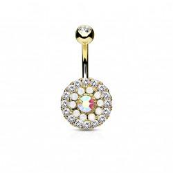 Piercing nombril doré avec trois cercles en zirconiums et opalines Biko NOM398
