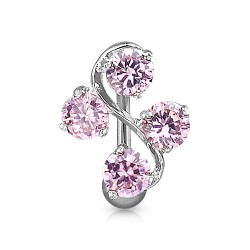 Piercing nombril inversé vigne raisin rose Zox