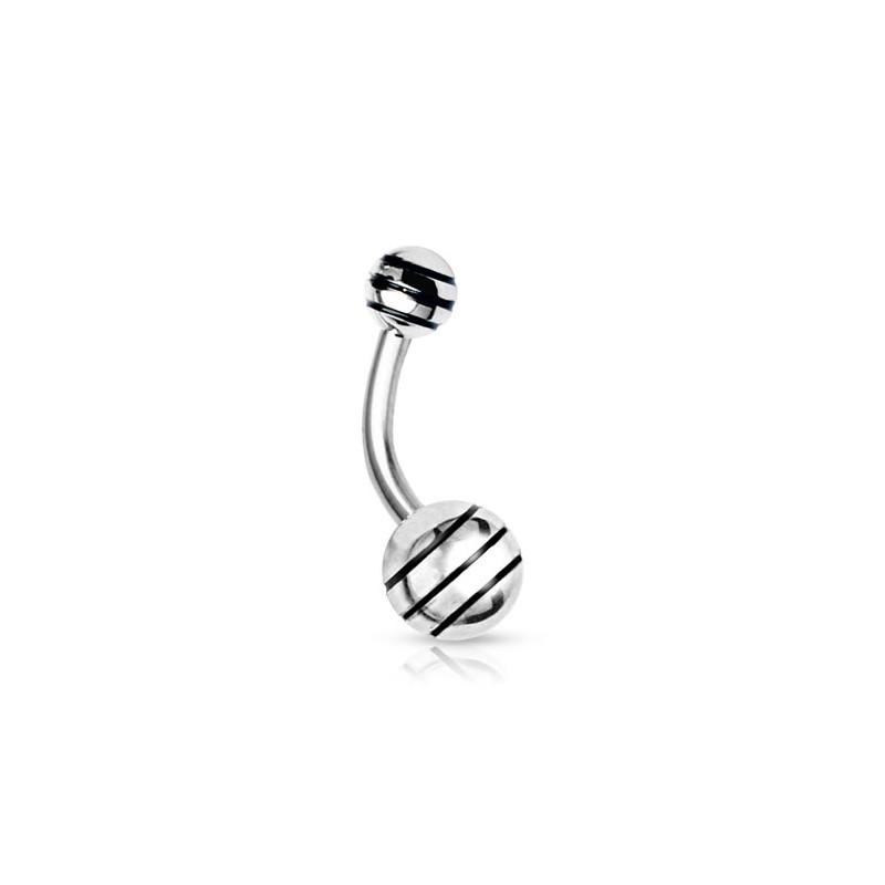 Piercing nombril boule striée noire Kiut Piercing nombril4,80€