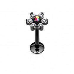 Piercing labret noir 8mm fleur avec crystals blanc et aurore boréale Baz