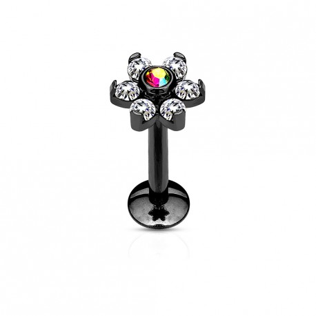 Piercing labret noir 6mm fleur avec crystals blanc et aurore boréale Buki LAB150