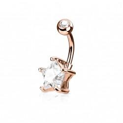 Piercing nombril or rose avec une étoile en zirconium blanc Bafa Piercing nombril5,85€