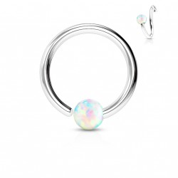 Piercing anneau 10 x 0,8mm avec une opaline blanche Miko NEZ102