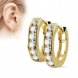Boucle anneau oreille doré orné de zirconiums blanc Lay ANN004