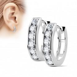 Boucle anneau oreille acier orné de zirconiums blanc Lix