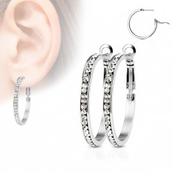 Boucle d'oreille stainless stell et zirconiums blanc Ozyk