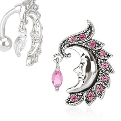 Piercing nombril inversé lune rose Wazas
