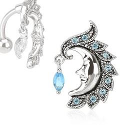 Piercing nombril inversé lune bleu Wako NOM024