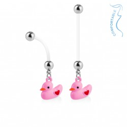 Piercing nombril bioflex de grossesse canard rose Nako NOM046
