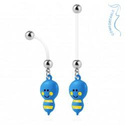 Piercing nombril bioflex de grossesse abeille bleu et noire Nagy NOM081