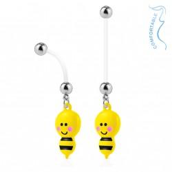 Piercing nombril bioflex de grossesse abeille jaune et noire Nahyr NOM081