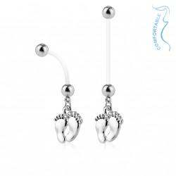 Piercing nombril grossesse en bioflex avec deux pieds argentés Caxy Piercing nombril5,99€