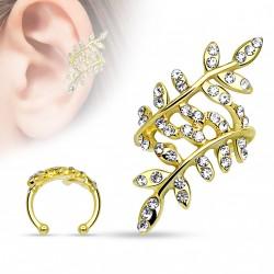 Faux anneau d'oreille doré avec branches et feuilles en crystals blanc Vuk FAU319