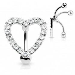 Piercing nombril inversé coeur avec zirconiums blanc Aox NOM347