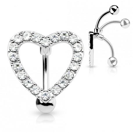 piercing nombril invers coeur avec zirconiums blanc aox 7 60. Black Bedroom Furniture Sets. Home Design Ideas