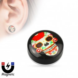 Faux piercing plug tête de mort crâne rouge aimanté Xuk FAU340