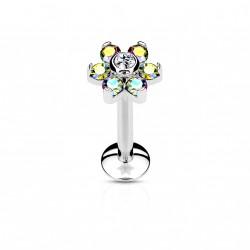Piercing labret acier 6mm fleur avec crystals aurore et blanc Nafaz LAB056