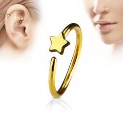 Piercing anneau 8 x 0,8mm avec une étoile doré Vyxa Piercing nez3,80€
